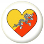 Bhutan Country Flag Heart 25mm Pin Button Badge